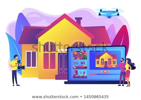 Onroerend video tour paar kijken huis Stockfoto © RAStudio
