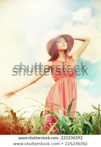 Nyár vadvirág lány boldog gyönyörű fiatal Stock fotó © ArenaCreative