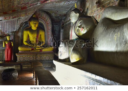inside of rock temple in dambulla sri lanka stock photo © meinzahn