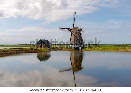 Holandés molino de viento azul aislado blanco edificio Foto stock © michaklootwijk