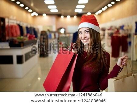bastante · menina · vermelho · natal · seis · colorido - foto stock © nobilior
