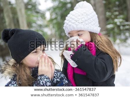 Gyermek papírzsebkendő kívül erdő téli idény lány Stock fotó © Lopolo