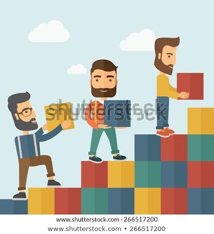ビジネスマン · レンガ · レンガ · 成長 · 統計 - ストックフォト © alphaspirit