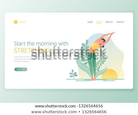 Yoga school landing pagina leraar mediteren Stockfoto © RAStudio