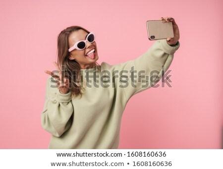 Portret nice zabawny kobieta Zdjęcia stock © deandrobot