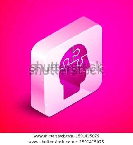 Agy mentális egészség izometrikus ikon vektor felirat Stock fotó © pikepicture