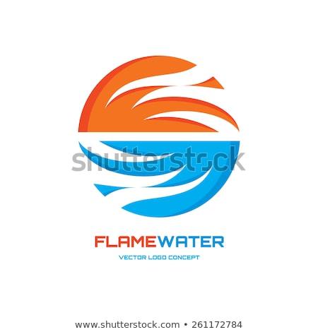 Alev su logo şablon örnek iki Stok fotoğraf © kyryloff