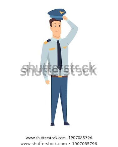 Smiling civilian aircraft pilot, aircrew captain, aviator or airman dressed in uniform with suitcase Stock photo © designer_things