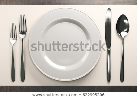 Empty plate and cutlery as mockup set on white background, top tableware for chef table decor and me Stock photo © Anneleven