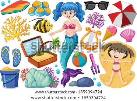 набор лет пляж икона русалка Cartoon Сток-фото © bluering