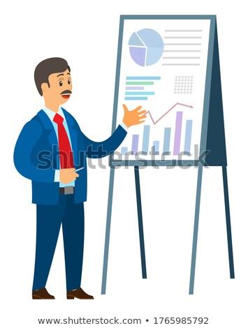 Cartoon mannelijke snorren wijzend boord grafieken Stockfoto © robuart