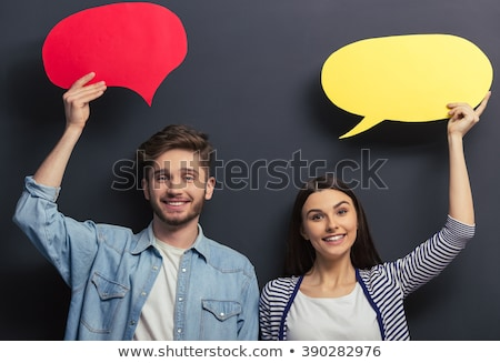 Stock photo: Two speech bubbles on a blackboard