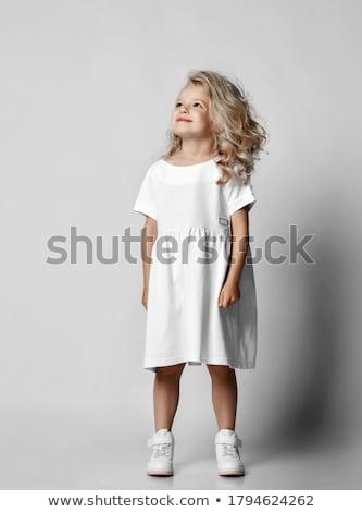nina · vestido · blanco · negro · mujer · sexo · mujeres - foto stock © zybr78