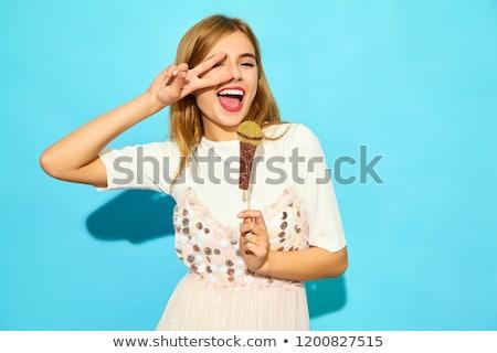menina · adolescente · cantando · belo · preto · mulher · música - foto stock © simply