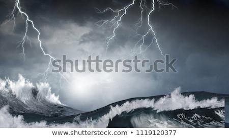Stormachtig zee strand wolken natuur storm Stockfoto © luckyraccoon