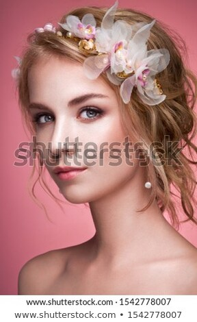 Glamour. Beautiful Woman with Jewelry - Shiny Diadem Stock photo © gromovataya