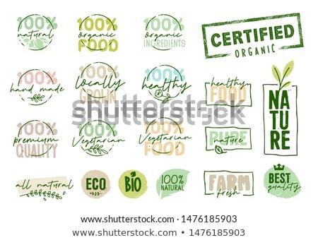 Bio etiqueta símbolos listrado natureza verde Foto stock © vipervxw