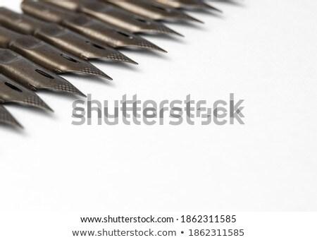 Metalen pen papier voorraad foto kantoor Stockfoto © nalinratphi