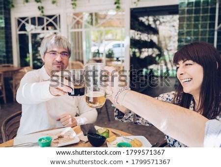 Foto stock: Grupo · amigos · Pareja · fiesta · restaurante · hombre