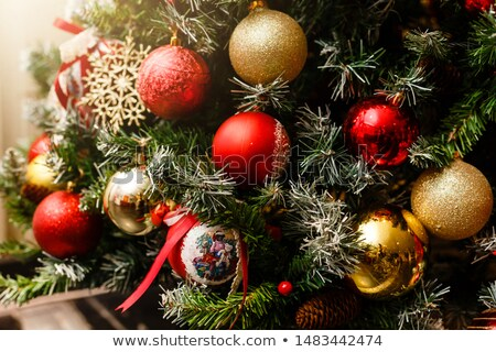 closeup shot of christmas tree with baubles stock photo © nobilior