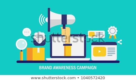 Merk bewustzijn megafoon campagne product onderzoek Stockfoto © RAStudio