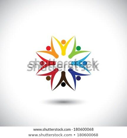 Trabajo en equipo círculo feliz amigos junto excitado Foto stock © kyryloff