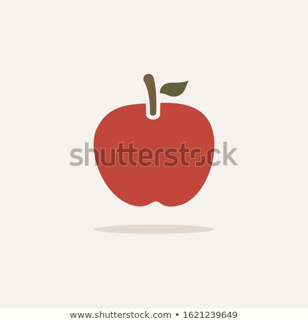 Red apple. Icon with shadow on a beige background. Fruit vector illustration Stock photo © Imaagio