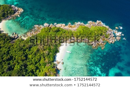 Beautiful sea or ocean waves, coast view from tropical sand beach, summer vacation travel and holida Stock photo © Anneleven