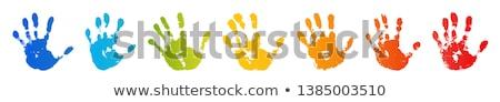 Yellow stamp handprint Stock photo © IMaster