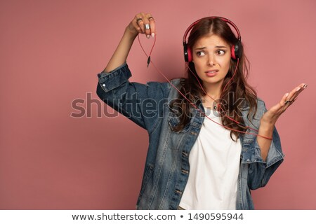 Belle femme casque cordon blanche musique Photo stock © Rob_Stark
