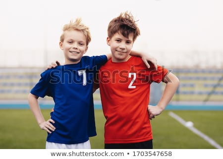twee · jongens · armen · heup · geïsoleerd · witte - stockfoto © grafvision