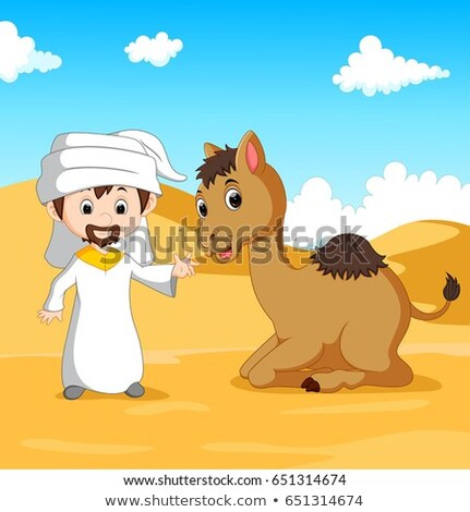 Boy is riding camel Stock photo © zzve
