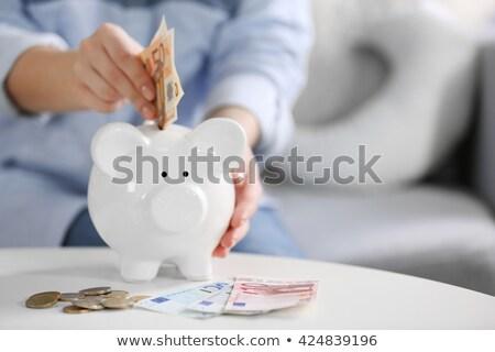 mano · euros · aislado · blanco · dinero - foto stock © smuki