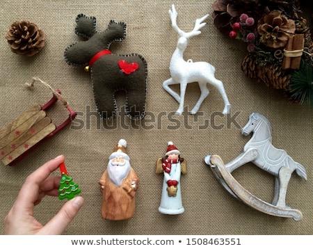 keramische · christmas · herten · mooie · witte · Blauw - stockfoto © manera