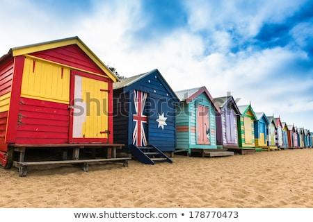 plaj · evler · hollanda · sahil · beyaz - stok fotoğraf © hofmeester