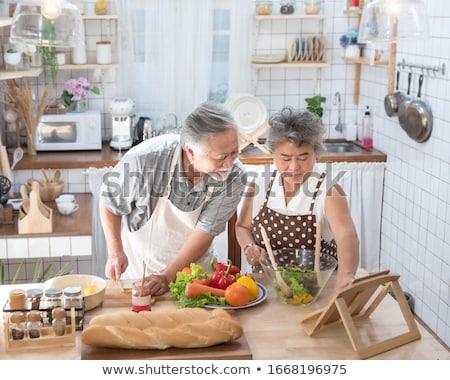愛する · カップル · キッチン - ストックフォト © boggy