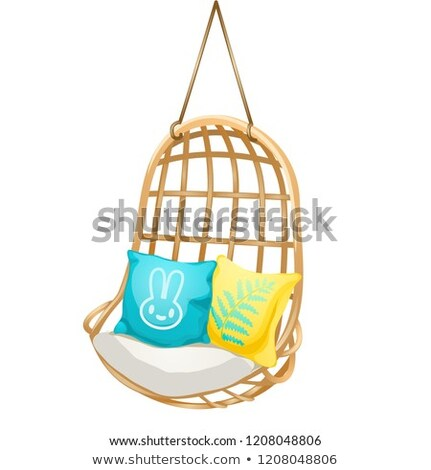 chair hanging on the rope with soft cushions set of elements interior isolated on a white backgroun stock photo © lady-luck