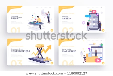 Digitális bemutató üzleti csapat laptopok néz táblázatok Stock fotó © RAStudio