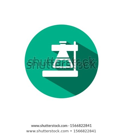 Laboratory conical flask icon with shadow on a green circle. Vector pharmacy illustration Stock photo © Imaagio