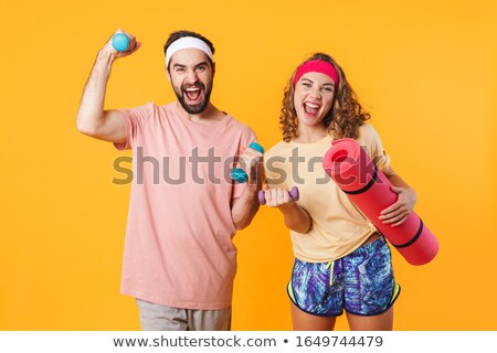 Retrato halteres fitness Foto stock © deandrobot