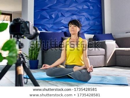 Blogger senior mulher esbelto corpo forma Foto stock © Illia