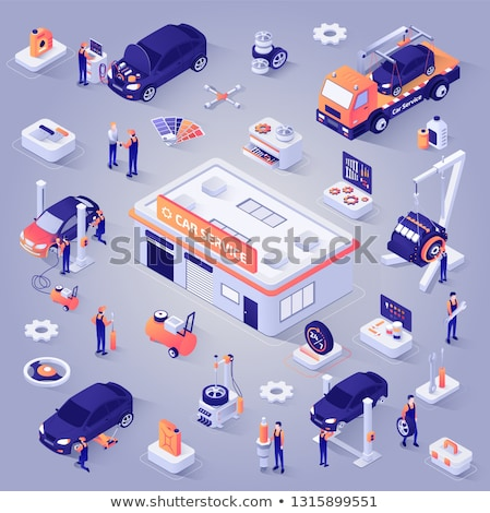 Tow Car Truck isometric icon vector illustration Stock photo © pikepicture