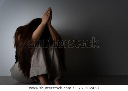 Stockfoto: Huilen · vrouw · pijn · verdriet · vlag · Alaska