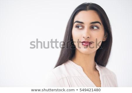 Csinos nő friss bőr másfelé néz szépség portré Stock fotó © deandrobot
