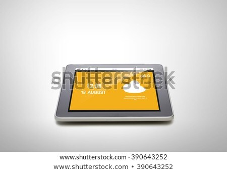 close up of tablet pc with summer hot weather cast Stock photo © dolgachov