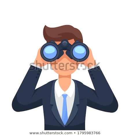 zakenman · verrekijker · business · oog · pak · grappig - stockfoto © armstark