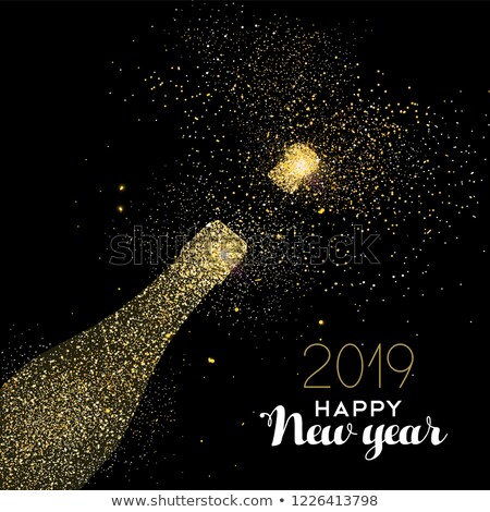 Happy new year or glitter poussière vacances carte Photo stock © cienpies