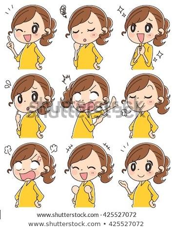 cute girl character cartoon illustration Stock photo © izakowski