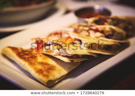mozzarella and guacamole quesadillas stock photo © alex9500
