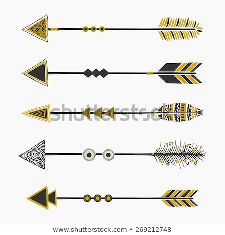 Złoty vintage plemiennych zestaw podpisania Zdjęcia stock © SArts